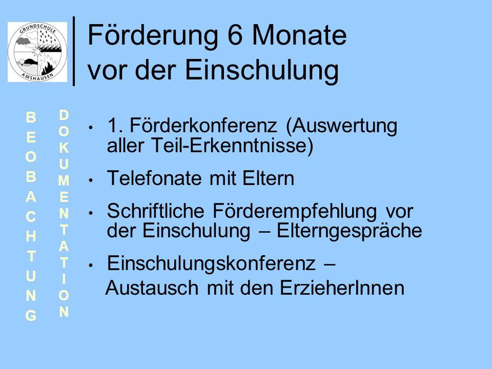 Förderung 6 Monate vor der Einschulung 1. Förderkonferenz (Auswertung aller Teil-Erkenntnisse) Telefonate mit Eltern Schriftliche Förderempfehlung vor