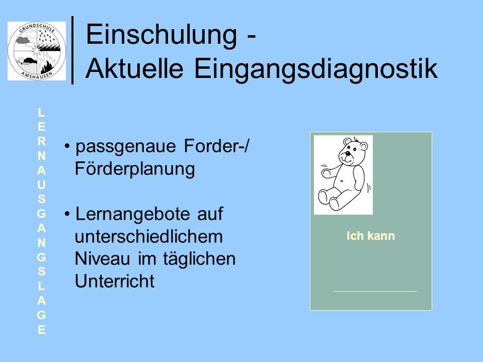 Einschulung - Aktuelle Eingangsdiagnostik LERNAUSGANGSLAGELERNAUSGANGSLAGE Ich kann passgenaue Forder-/ Förderplanung Lernangebote auf unterschiedlich