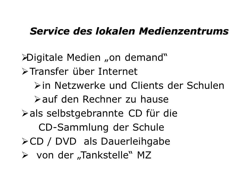Service des lokalen Medienzentrums Service des lokalen Medienzentrums Digitale Medien on demand Transfer über Internet in Netzwerke und Clients der Sc