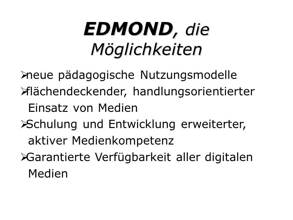 EDMOND Zukunft die Anforderungen an die Schulen LehrerInnen müssen sich fortbilden für den Medieneinsatz und für die Entwicklung neuer pädagogischer Modelle.