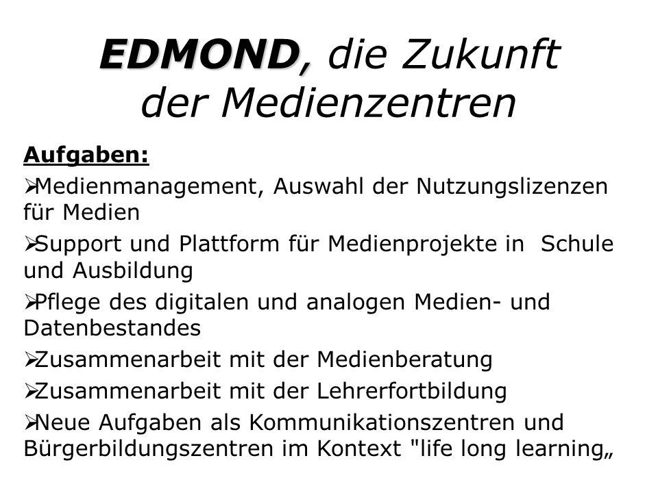 EDMOND, EDMOND, die Zukunft der Medienzentren Aufgaben: Medienmanagement, Auswahl der Nutzungslizenzen für Medien Support und Plattform für Medienproj