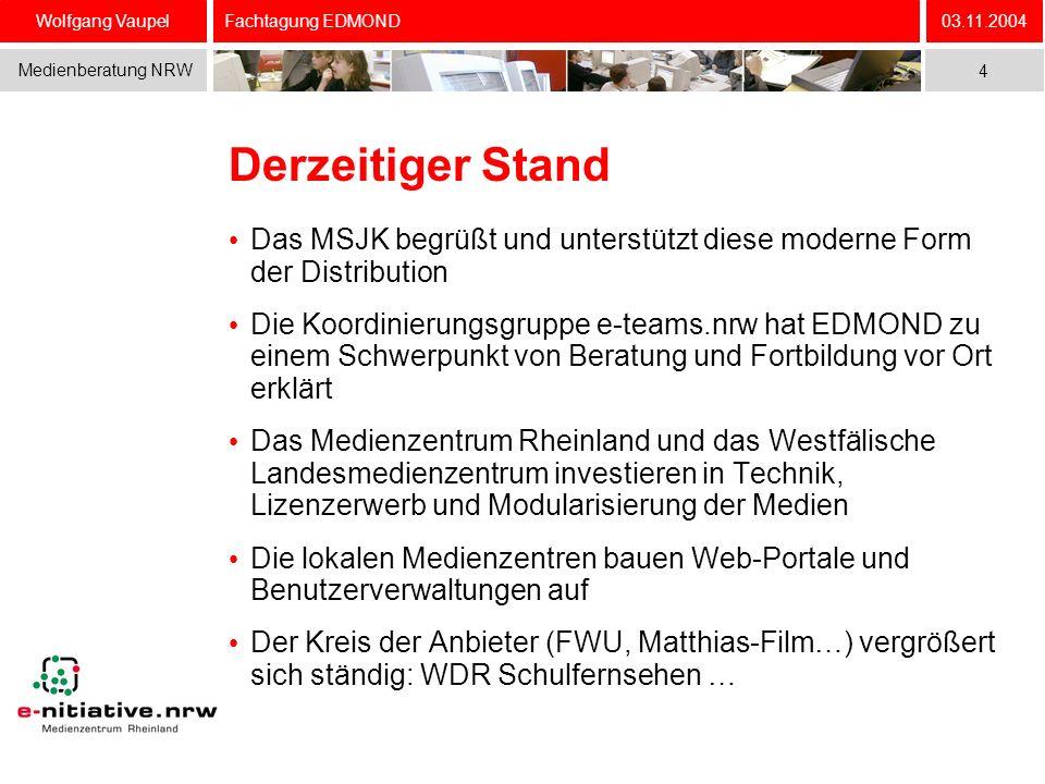 Wolfgang Vaupel Medienberatung NRW 03.11.2004 4 Fachtagung EDMOND Derzeitiger Stand Das MSJK begrüßt und unterstützt diese moderne Form der Distributi