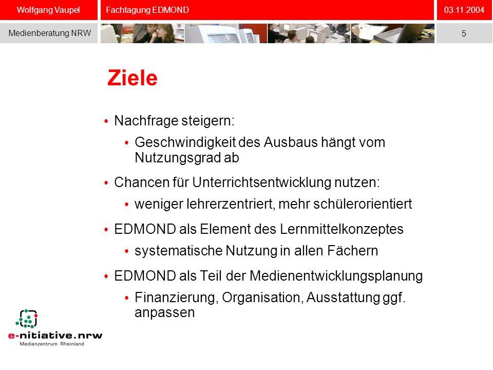 Wolfgang Vaupel Medienberatung NRW 03.11.2004 5 Fachtagung EDMOND Ziele Nachfrage steigern: Geschwindigkeit des Ausbaus hängt vom Nutzungsgrad ab Chan