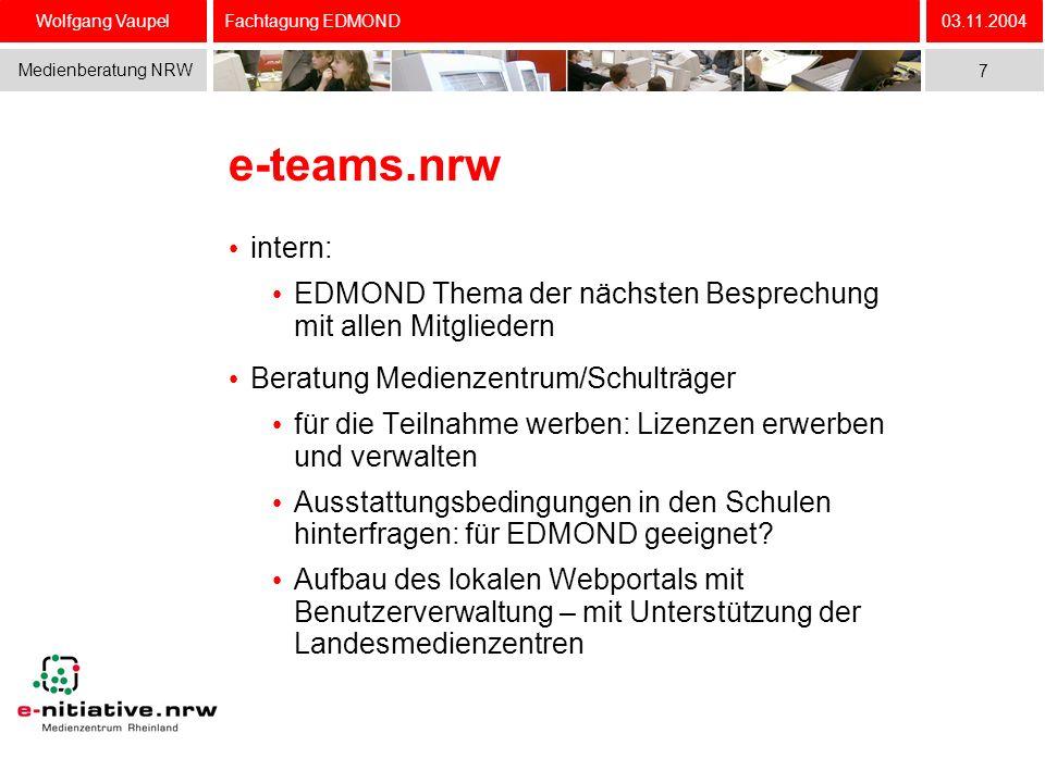 Wolfgang Vaupel Medienberatung NRW 03.11.2004 7 Fachtagung EDMOND e-teams.nrw intern: EDMOND Thema der nächsten Besprechung mit allen Mitgliedern Bera