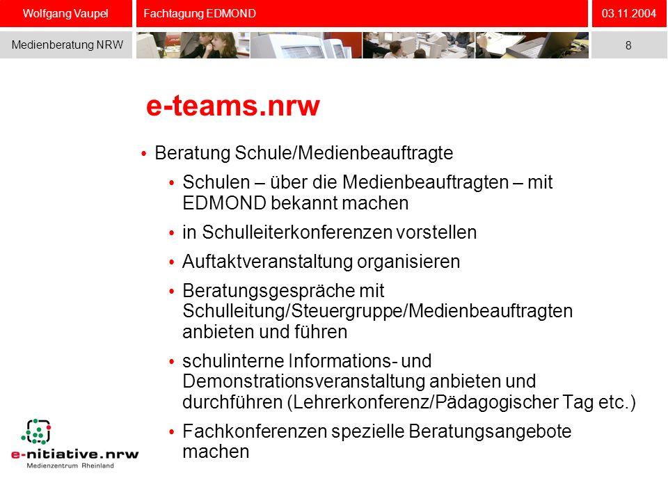 Wolfgang Vaupel Medienberatung NRW 03.11.2004 8 Fachtagung EDMOND e-teams.nrw Beratung Schule/Medienbeauftragte Schulen – über die Medienbeauftragten