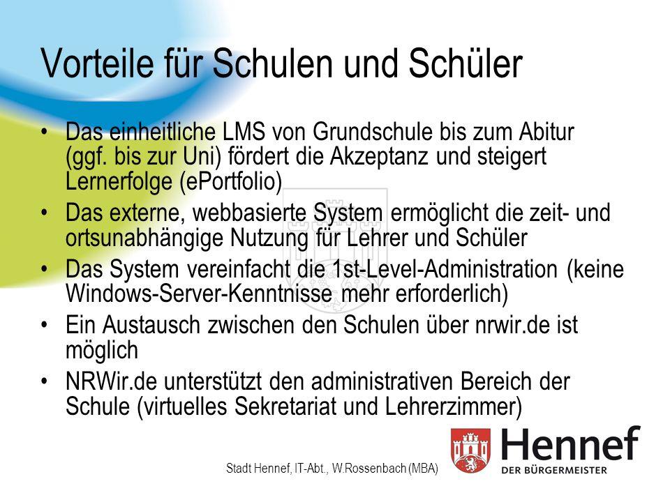 Produkt und Technik von NRWir.de Als Produktlösung wurde das LMS Fronter (6 Mio.