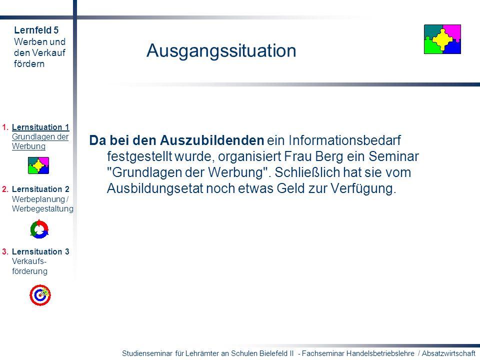 Studienseminar für Lehrämter an Schulen Bielefeld II - Fachseminar Handelsbetriebslehre / Absatzwirtschaft Ausgangssituation Da bei den Auszubildenden