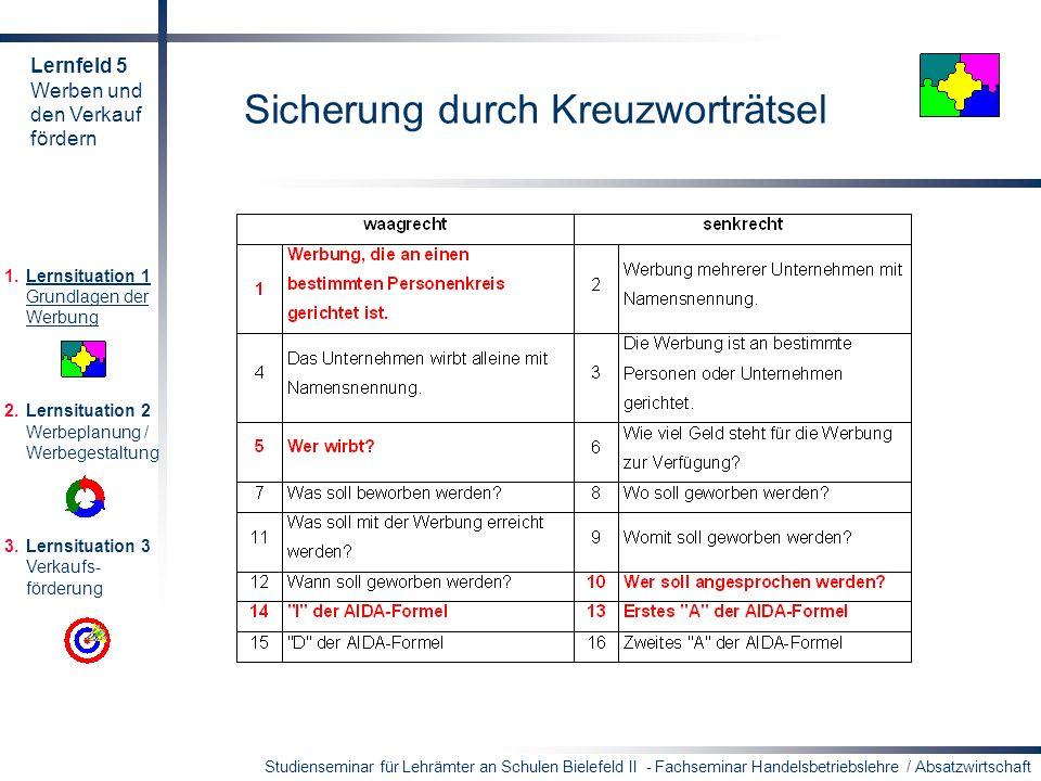 Studienseminar für Lehrämter an Schulen Bielefeld II - Fachseminar Handelsbetriebslehre / Absatzwirtschaft Sicherung durch Kreuzworträtsel 1.Lernsitua