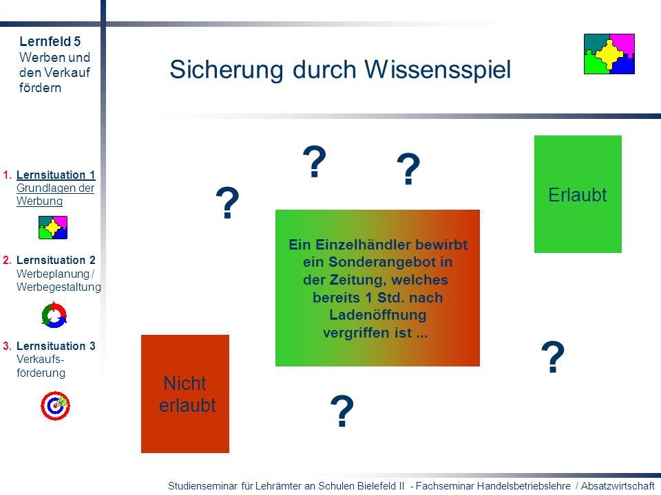 Studienseminar für Lehrämter an Schulen Bielefeld II - Fachseminar Handelsbetriebslehre / Absatzwirtschaft Sicherung durch Wissensspiel Erlaubt Nicht