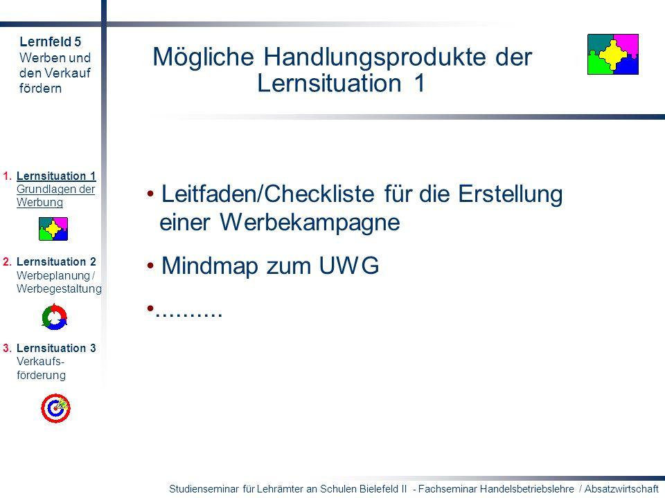 Studienseminar für Lehrämter an Schulen Bielefeld II - Fachseminar Handelsbetriebslehre / Absatzwirtschaft Mögliche Handlungsprodukte der Lernsituatio