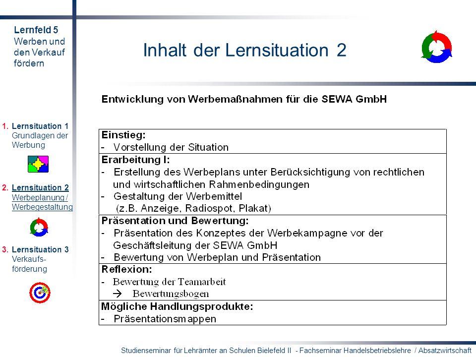 Studienseminar für Lehrämter an Schulen Bielefeld II - Fachseminar Handelsbetriebslehre / Absatzwirtschaft Inhalt der Lernsituation 2 1.Lernsituation