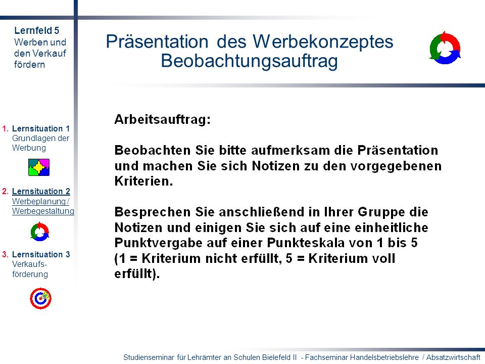 Studienseminar für Lehrämter an Schulen Bielefeld II - Fachseminar Handelsbetriebslehre / Absatzwirtschaft Präsentation des Werbekonzeptes Beobachtung