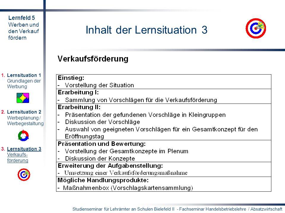 Studienseminar für Lehrämter an Schulen Bielefeld II - Fachseminar Handelsbetriebslehre / Absatzwirtschaft Inhalt der Lernsituation 3 1.Lernsituation