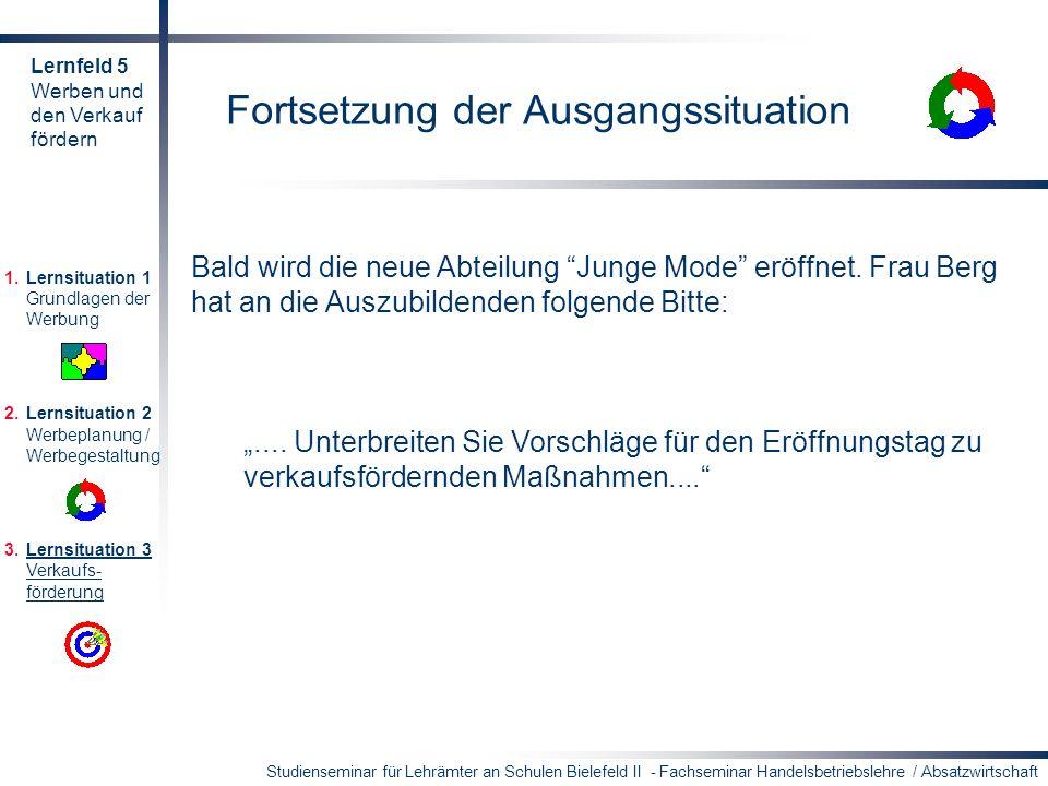 Studienseminar für Lehrämter an Schulen Bielefeld II - Fachseminar Handelsbetriebslehre / Absatzwirtschaft Fortsetzung der Ausgangssituation Bald wird