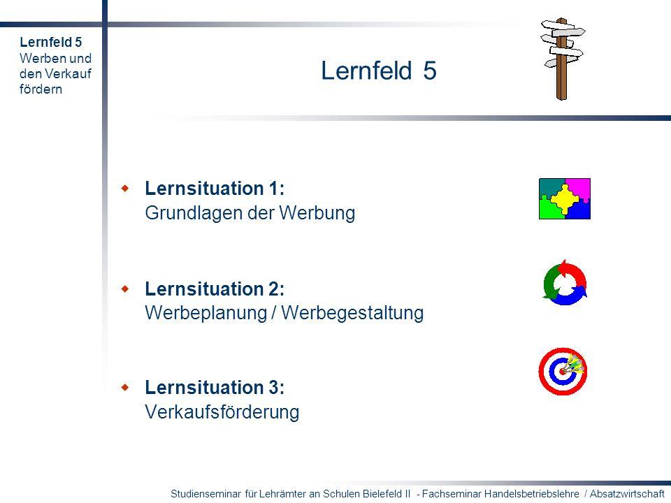 Studienseminar für Lehrämter an Schulen Bielefeld II - Fachseminar Handelsbetriebslehre / Absatzwirtschaft Mögliche Handlungsprodukte der Lernsituation 1 Leitfaden/Checkliste für die Erstellung einer Werbekampagne Mindmap zum UWG..........