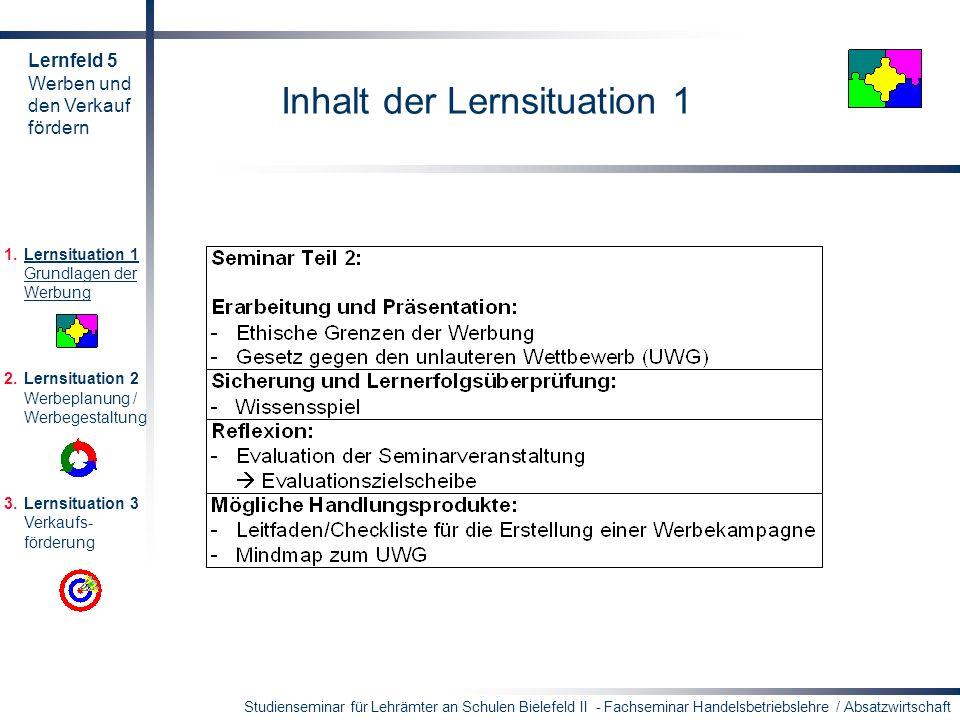 Studienseminar für Lehrämter an Schulen Bielefeld II - Fachseminar Handelsbetriebslehre / Absatzwirtschaft Inhalt der Lernsituation 1 1.Lernsituation