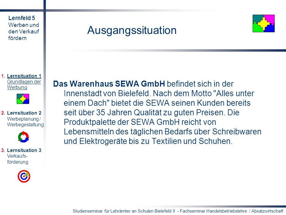 Studienseminar für Lehrämter an Schulen Bielefeld II - Fachseminar Handelsbetriebslehre / Absatzwirtschaft Ausgangssituation Das Warenhaus SEWA GmbH b