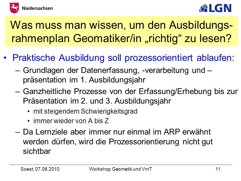 Soest, 07.06.2010Workshop Geomatik und VmT11 Was muss man wissen, um den Ausbildungs- rahmenplan Geomatiker/in richtig zu lesen.
