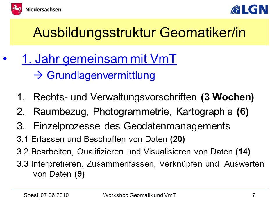 Soest, 07.06.2010Workshop Geomatik und VmT7 Ausbildungsstruktur Geomatiker/in 1.