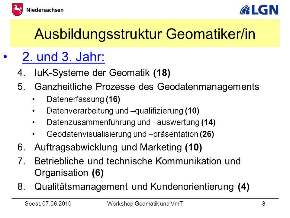 Soest, 07.06.2010Workshop Geomatik und VmT8 Ausbildungsstruktur Geomatiker/in 2.