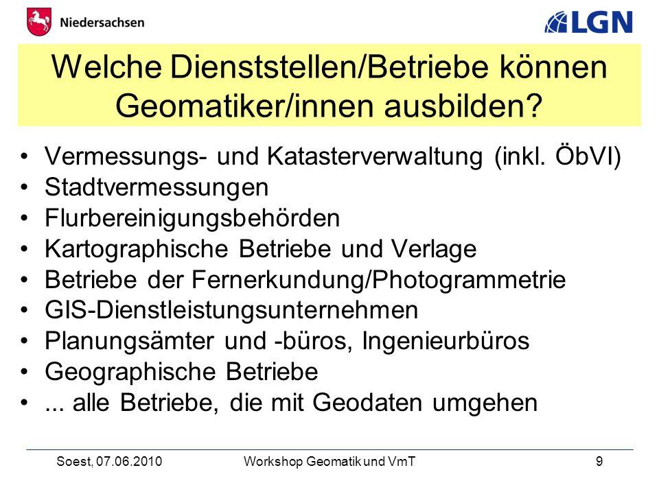 Soest, 07.06.2010Workshop Geomatik und VmT9 Welche Dienststellen/Betriebe können Geomatiker/innen ausbilden.