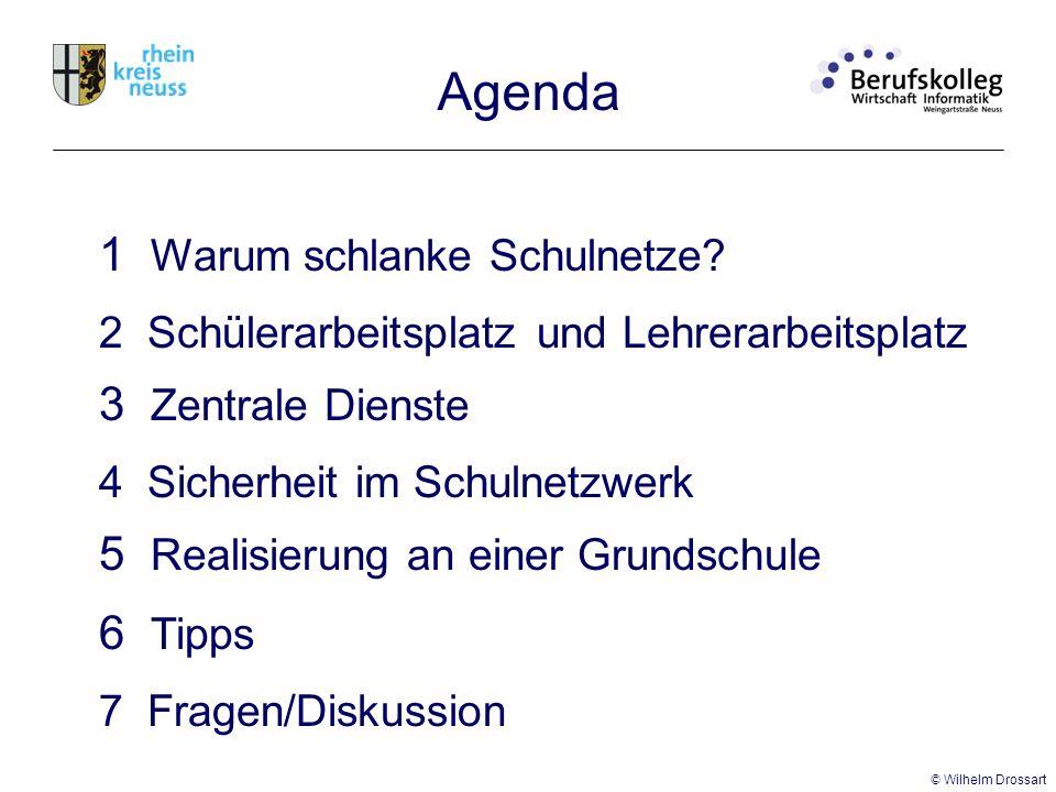 Agenda 2 Schülerarbeitsplatz 3 Zentrale Dienste 4 Sicherheit im Schulnetzwerk und Lehrerarbeitsplatz 5 Realisierung an einer Grundschule 7 Fragen/Diskussion 6 Tipps 1 Warum schlanke Schulnetze.