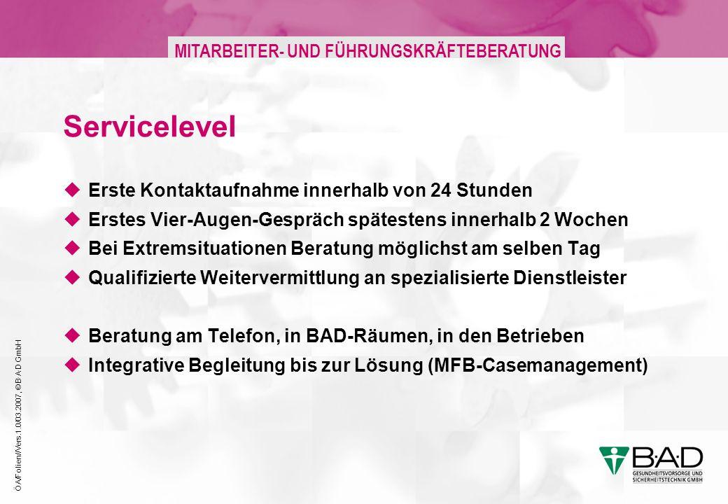 ÖA/Folien//Vers.1.0/03.2007, © B·A·D GmbH MITARBEITER- UND FÜHRUNGSKRÄFTEBERATUNG Servicelevel Erste Kontaktaufnahme innerhalb von 24 Stunden Erstes V