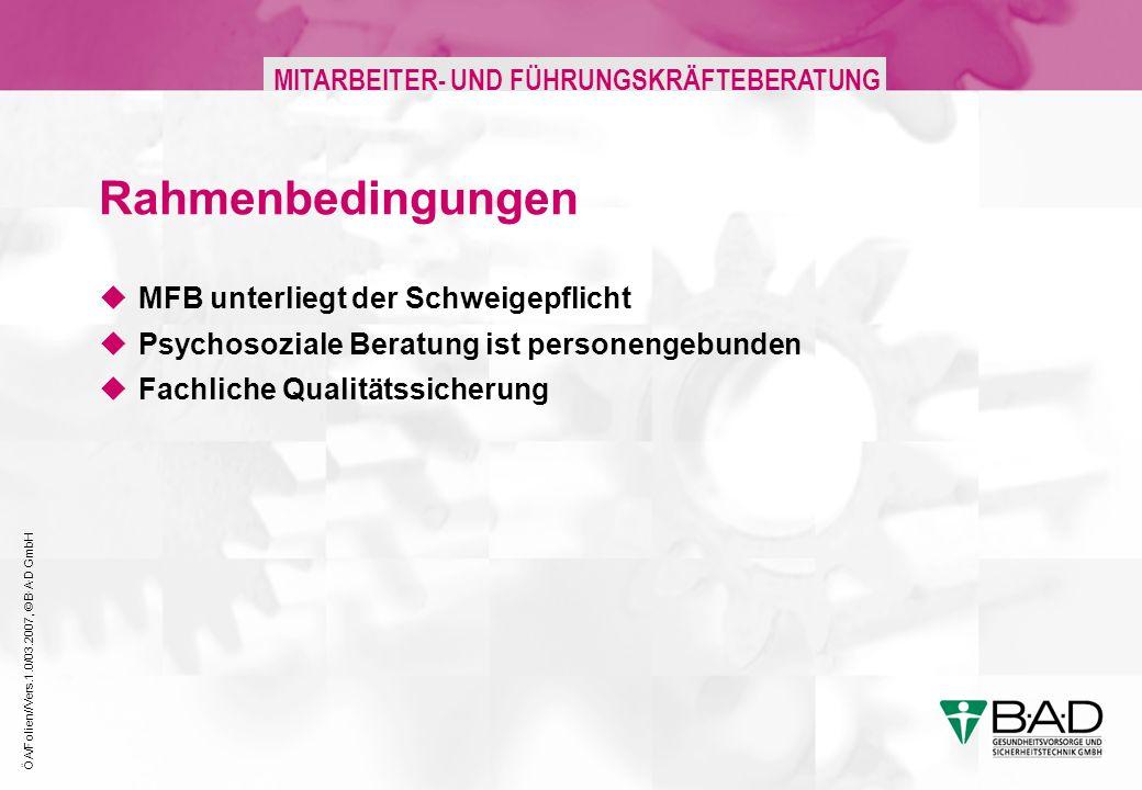 ÖA/Folien//Vers.1.0/03.2007, © B·A·D GmbH MITARBEITER- UND FÜHRUNGSKRÄFTEBERATUNG Rahmenbedingungen MFB unterliegt der Schweigepflicht Psychosoziale Beratung ist personengebunden Fachliche Qualitätssicherung