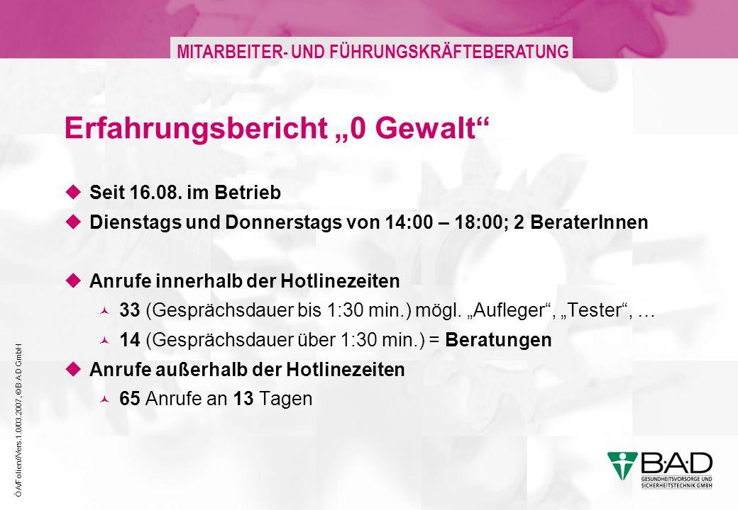 ÖA/Folien//Vers.1.0/03.2007, © B·A·D GmbH MITARBEITER- UND FÜHRUNGSKRÄFTEBERATUNG Erfahrungsbericht 0 Gewalt Seit 16.08. im Betrieb Dienstags und Donn