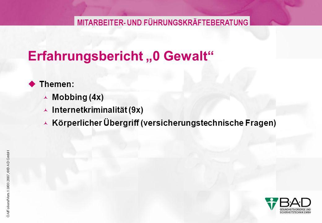 ÖA/Folien//Vers.1.0/03.2007, © B·A·D GmbH MITARBEITER- UND FÜHRUNGSKRÄFTEBERATUNG Erfahrungsbericht 0 Gewalt Themen: Mobbing (4x) Internetkriminalität