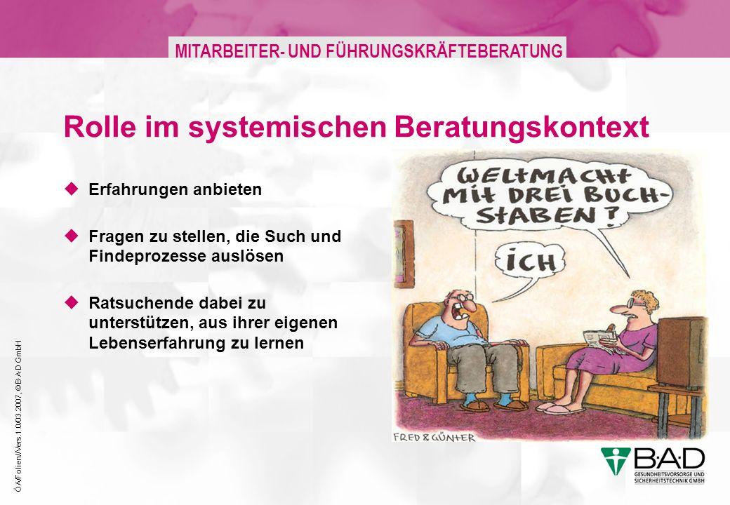 ÖA/Folien//Vers.1.0/03.2007, © B·A·D GmbH MITARBEITER- UND FÜHRUNGSKRÄFTEBERATUNG Rolle im systemischen Beratungskontext Erfahrungen anbieten Fragen zu stellen, die Such und Findeprozesse auslösen Ratsuchende dabei zu unterstützen, aus ihrer eigenen Lebenserfahrung zu lernen