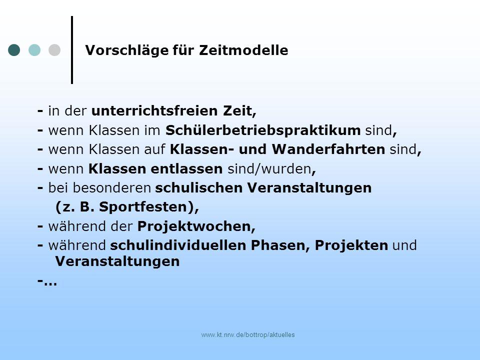 www.kt.nrw.de/bottrop/aktuelles Vorschläge für Zeitmodelle - in der unterrichtsfreien Zeit, - wenn Klassen im Schülerbetriebspraktikum sind, - wenn Kl