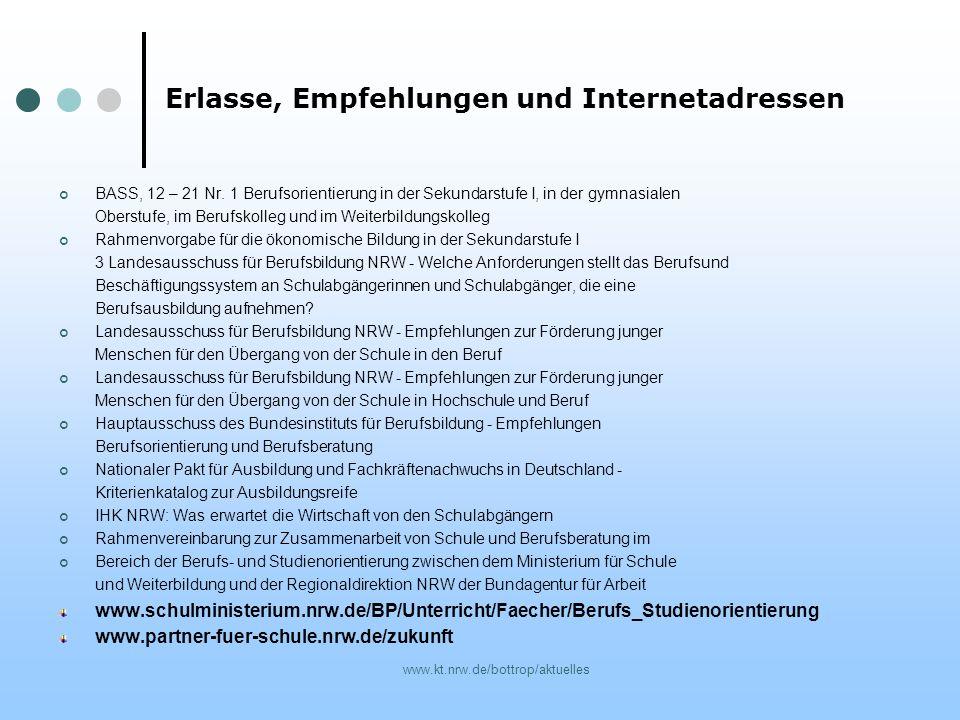 www.kt.nrw.de/bottrop/aktuelles Erlasse, Empfehlungen und Internetadressen BASS, 12 – 21 Nr. 1 Berufsorientierung in der Sekundarstufe I, in der gymna