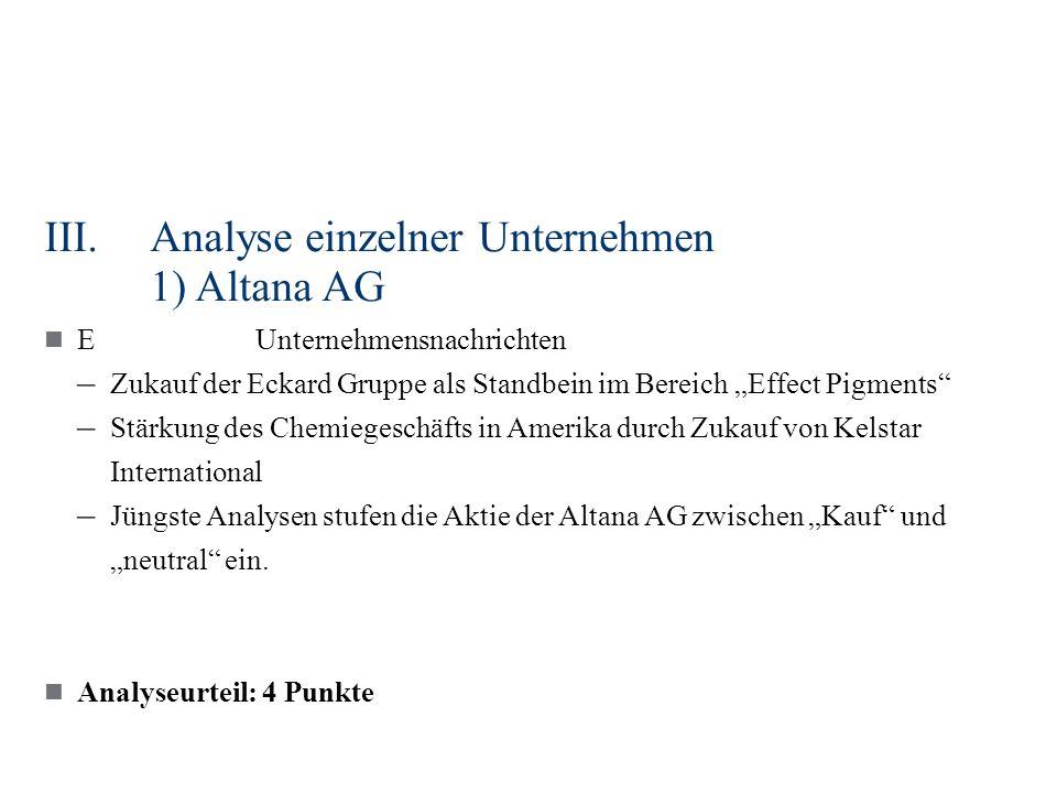 III.Analyse einzelner Unternehmen 1) Altana AG EUnternehmensnachrichten – Zukauf der Eckard Gruppe als Standbein im Bereich Effect Pigments – Stärkung