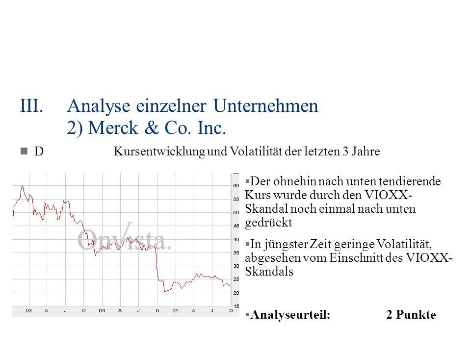 III.Analyse einzelner Unternehmen 2) Merck & Co. Inc. DKursentwicklung und Volatilität der letzten 3 Jahre Der ohnehin nach unten tendierende Kurs wur