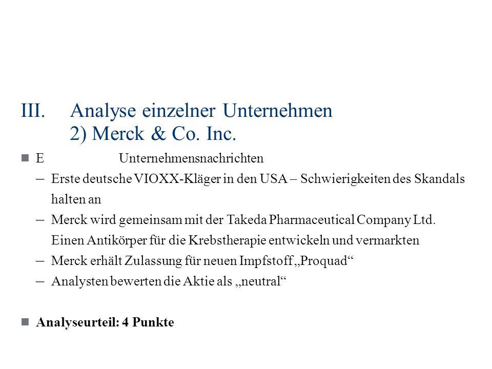 III.Analyse einzelner Unternehmen 2) Merck & Co. Inc. EUnternehmensnachrichten – Erste deutsche VIOXX-Kläger in den USA – Schwierigkeiten des Skandals