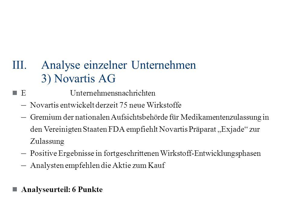 III.Analyse einzelner Unternehmen 3) Novartis AG EUnternehmensnachrichten – Novartis entwickelt derzeit 75 neue Wirkstoffe – Gremium der nationalen Au