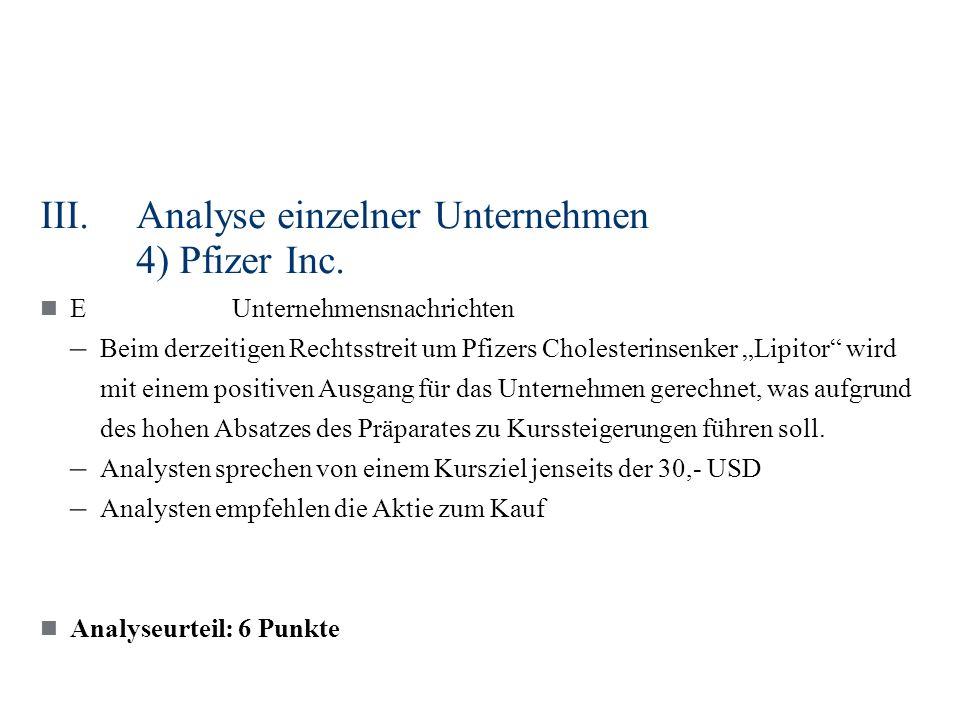 III.Analyse einzelner Unternehmen 4) Pfizer Inc. EUnternehmensnachrichten – Beim derzeitigen Rechtsstreit um Pfizers Cholesterinsenker Lipitor wird mi