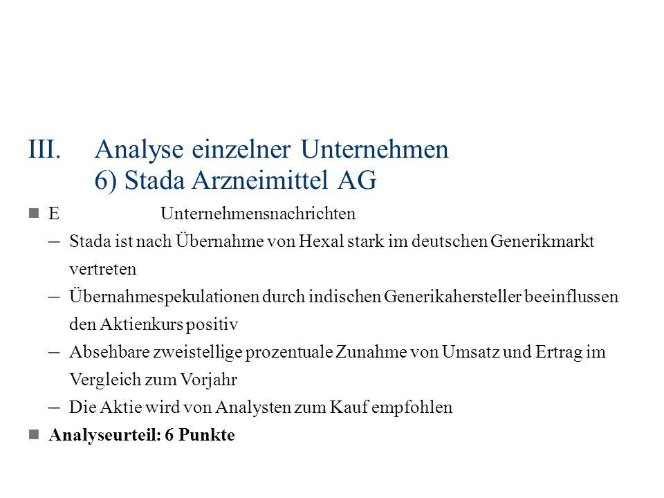 III.Analyse einzelner Unternehmen 6) Stada Arzneimittel AG EUnternehmensnachrichten – Stada ist nach Übernahme von Hexal stark im deutschen Generikmar