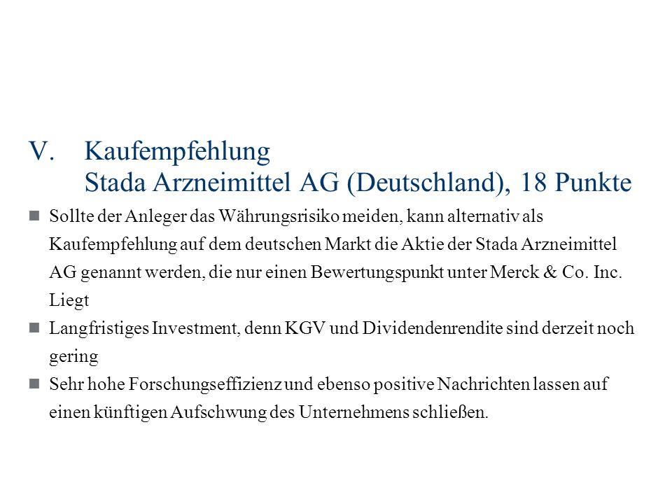 V.Kaufempfehlung Stada Arzneimittel AG (Deutschland), 18 Punkte Sollte der Anleger das Währungsrisiko meiden, kann alternativ als Kaufempfehlung auf dem deutschen Markt die Aktie der Stada Arzneimittel AG genannt werden, die nur einen Bewertungspunkt unter Merck & Co.