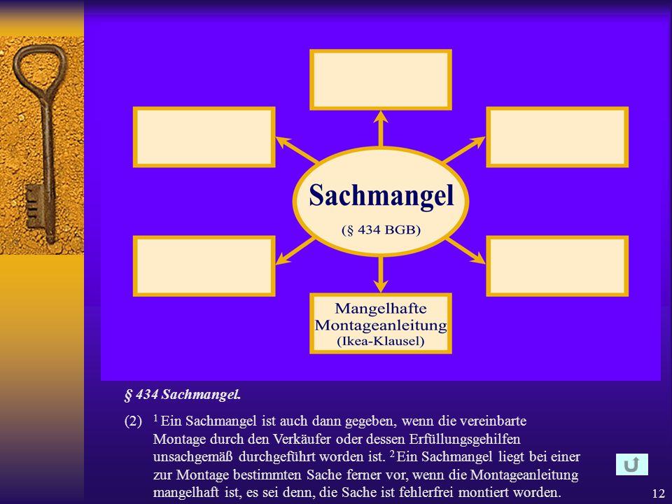 11 § 434 Sachmangel. (1) 1 Die Sache ist frei von Sachmängeln, wenn sie bei Gefahrübergang die vereinbarte Beschaffenheit hat. 2 Soweit die Beschaffen