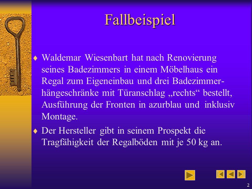2 Fallbeispiel Waldemar Wiesenbart hat nach Renovierung seines Badezimmers in einem Möbelhaus ein Regal zum Eigeneinbau und drei Badezimmer- hängeschränke mit Türanschlag rechts bestellt, Ausführung der Fronten in azurblau und inklusiv Montage.