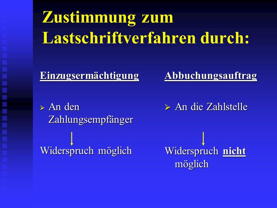 Rechtliche Grundlagen: Lastschriftabkommen Inkassovereinbarungen §§ §§