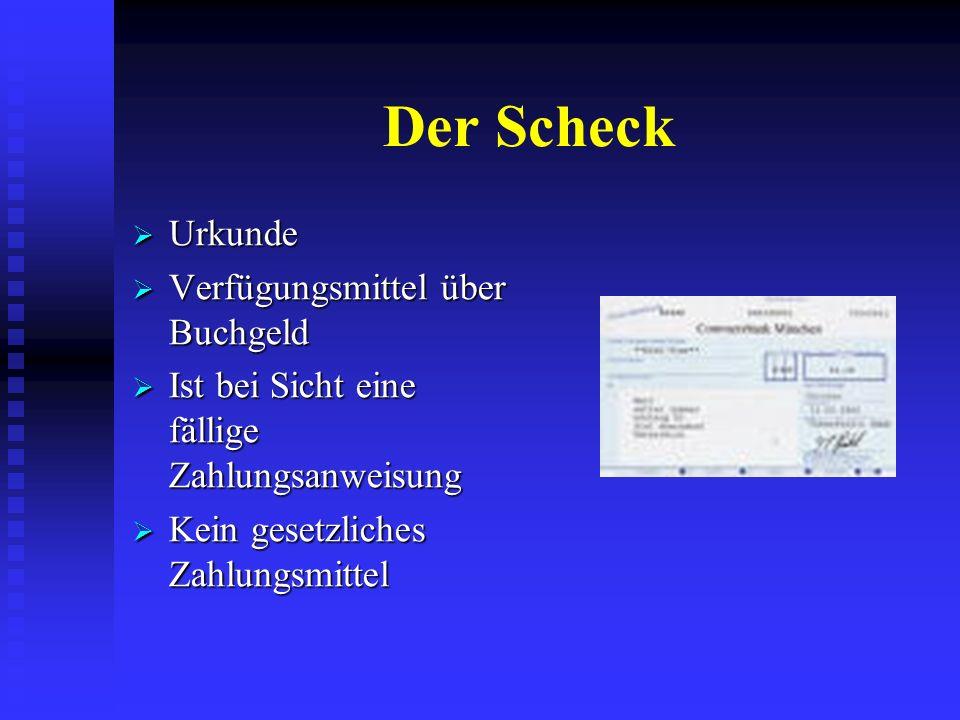 Aufträge und Anweisungen Scheck