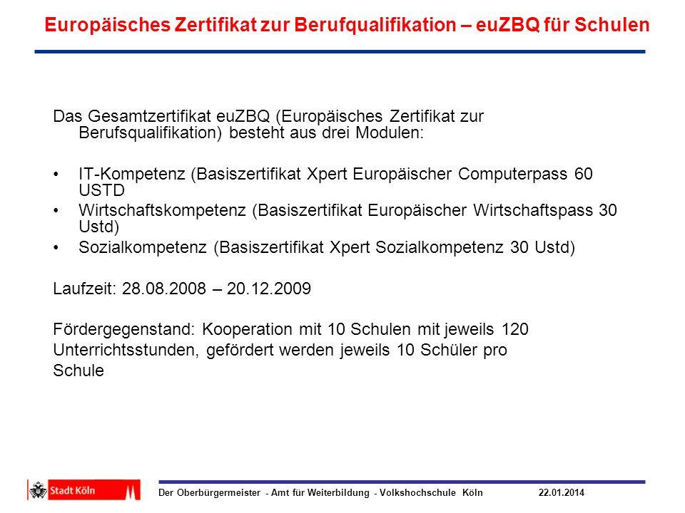 Der Oberbürgermeister - Amt für Weiterbildung - Volkshochschule Köln 22.01.2014 Europäisches Zertifikat zur Berufqualifikation – euZBQ für Schulen Das