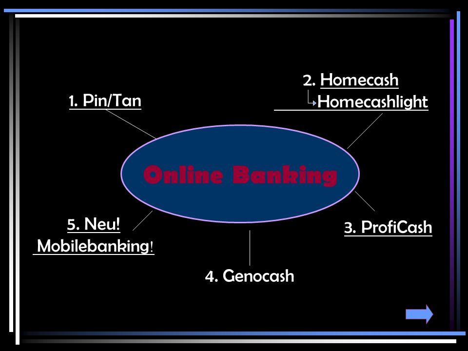 Home Cash – das PC-Proramm für den privaten Zahlungsverkehr Verwaltung von Überweisungen und Daueraufträgen Abruf von Depot- und Wertpapierinformationen Zeitgesteuerte Ausführung von Datenübertragungen Abruf von Kontoauszügen Passwortschutz Datensicherung und Datenverschlüsselung Zahlungsausführung per Internet, T-Online oder Diskette