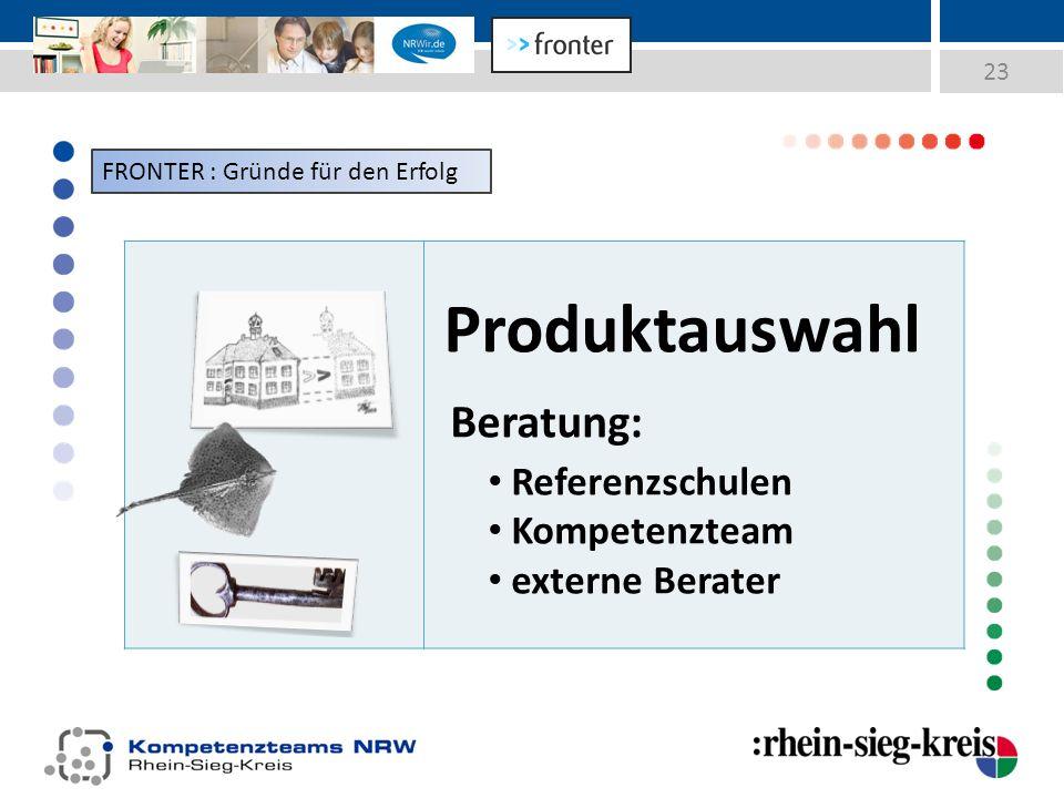23 Produktauswahl Beratung: Referenzschulen Kompetenzteam externe Berater FRONTER : Gründe für den Erfolg