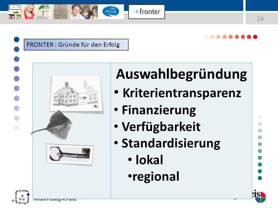 24 Auswahlbegründung Kriterientransparenz Finanzierung Verfügbarkeit Standardisierung lokal regional FRONTER : Gründe für den Erfolg