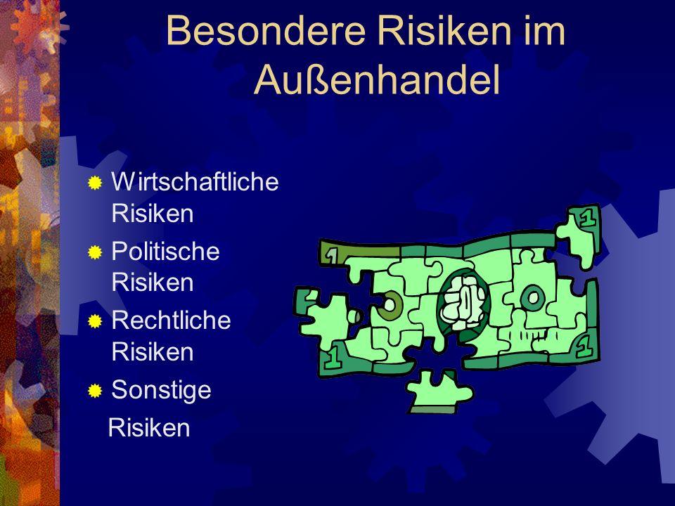 Wirtschaftliche Risiken Vertragserfüllungsrisiko Der Exporteur trägt: *Abnahmerisiko *Zahlungsrisiko Der Importeur trägt: *Lieferungsrisiko *Qualitätsrisiko Transportrisiko Kursrisiko