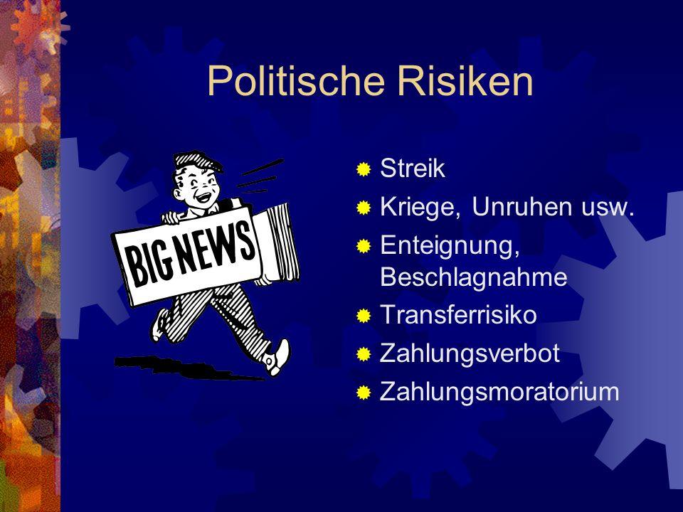 Politische Risiken Streik Kriege, Unruhen usw. Enteignung, Beschlagnahme Transferrisiko Zahlungsverbot Zahlungsmoratorium